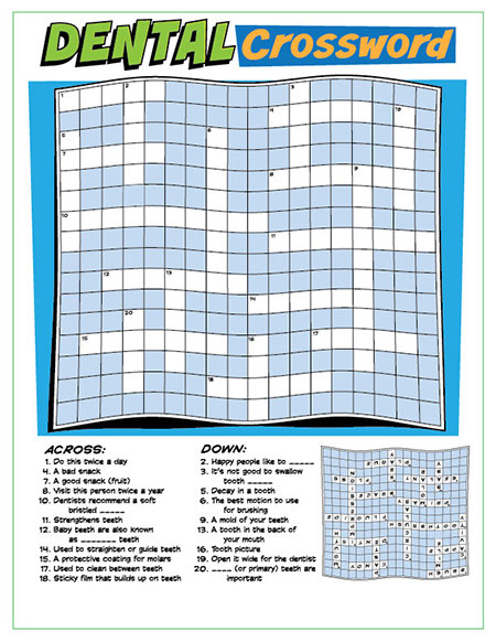 Dental Crossword Puzzle Activity Sheet - Pediatric Dentist in South Miami, FL