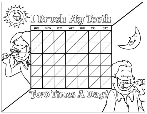 Black and White Brushing Chart for Children - Pediatric Dentist in South Miami, FL