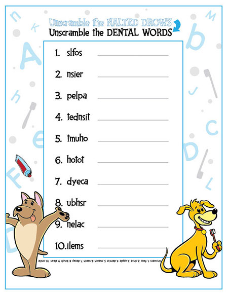 Unscramble the Dental Words Activity Sheet - Pediatric Dentist in South Miami, FL